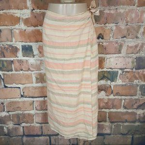 Talbots Petites Maxi Wrap Skirt Linen Striped 16